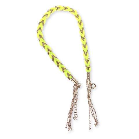 Zincirli Örgü Asansörlü Halhal - Neon Sarı