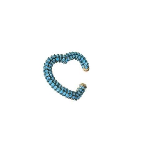 Mavi Taşlı Kalp Cuff