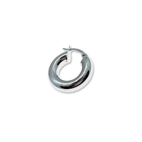 Gümüş Bombeli Halka Küpe - 2cm