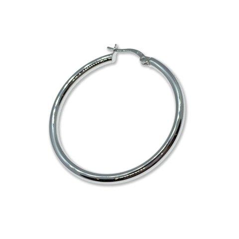Gümüş Halka Küpe - 4cm