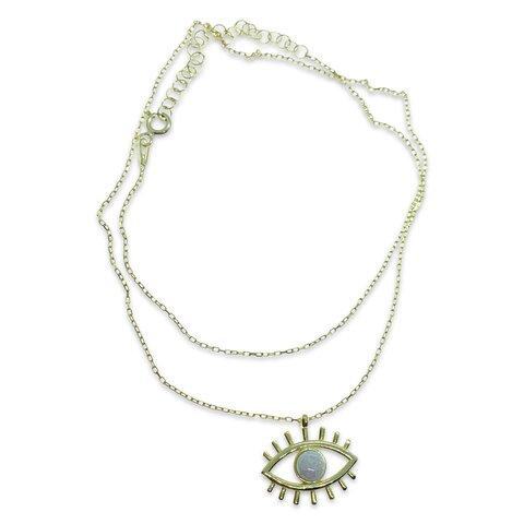 Beyaz Opal Taşlı Gold Göz Kolye