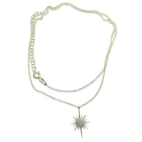 Beyaz Opal Taşlı Gold Yıldız Kolye