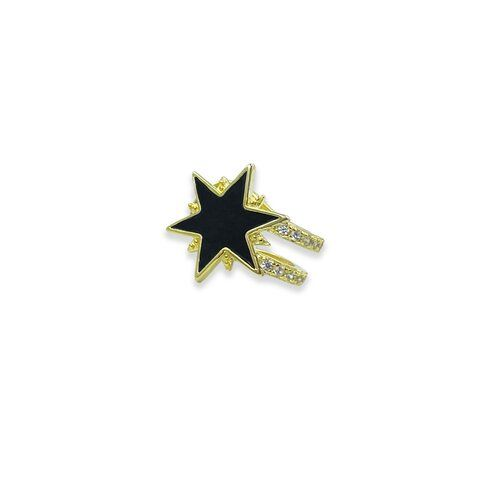 Siyah Mineli Yıldız Cuff_Gold