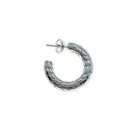 Yılan Desenli Halka Küpe - Gümüş / Tek