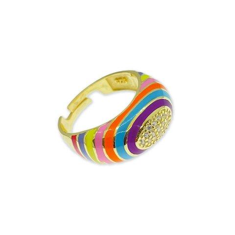 Renkli Mineli Oval / Gold